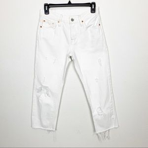 Levi's 501 White Distressed Button Fly Jeans Sz 24